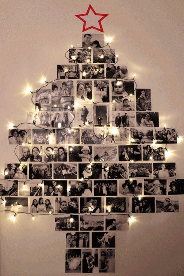 arvore de natal usando fotos da familia