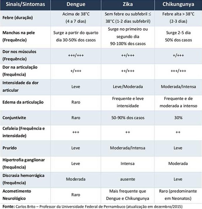 diferença de sintomas entre dengue Zika Vírus ou Chikungunya