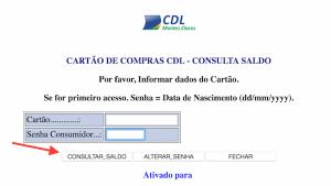 VER SALDO CARTÃO CDL CARD ALIMENTAÇÃO